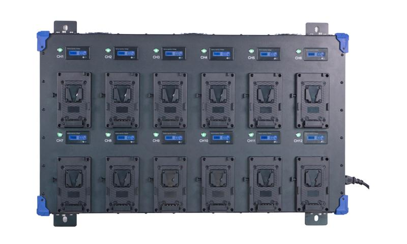 12-channel V mount Quick charger PL-Q4B12 Vista Frontal SIn baterías