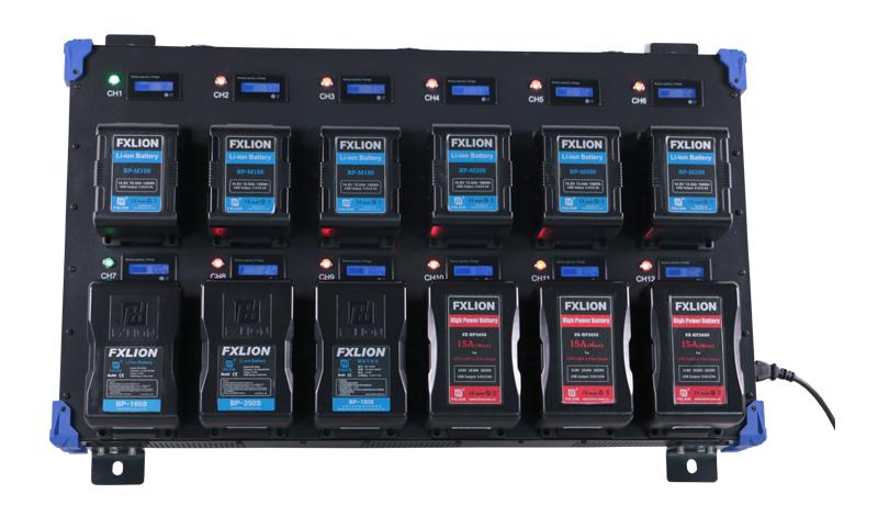 12-channel V mount Quick charger PL-Q4B12 Vista Frontal con baterías