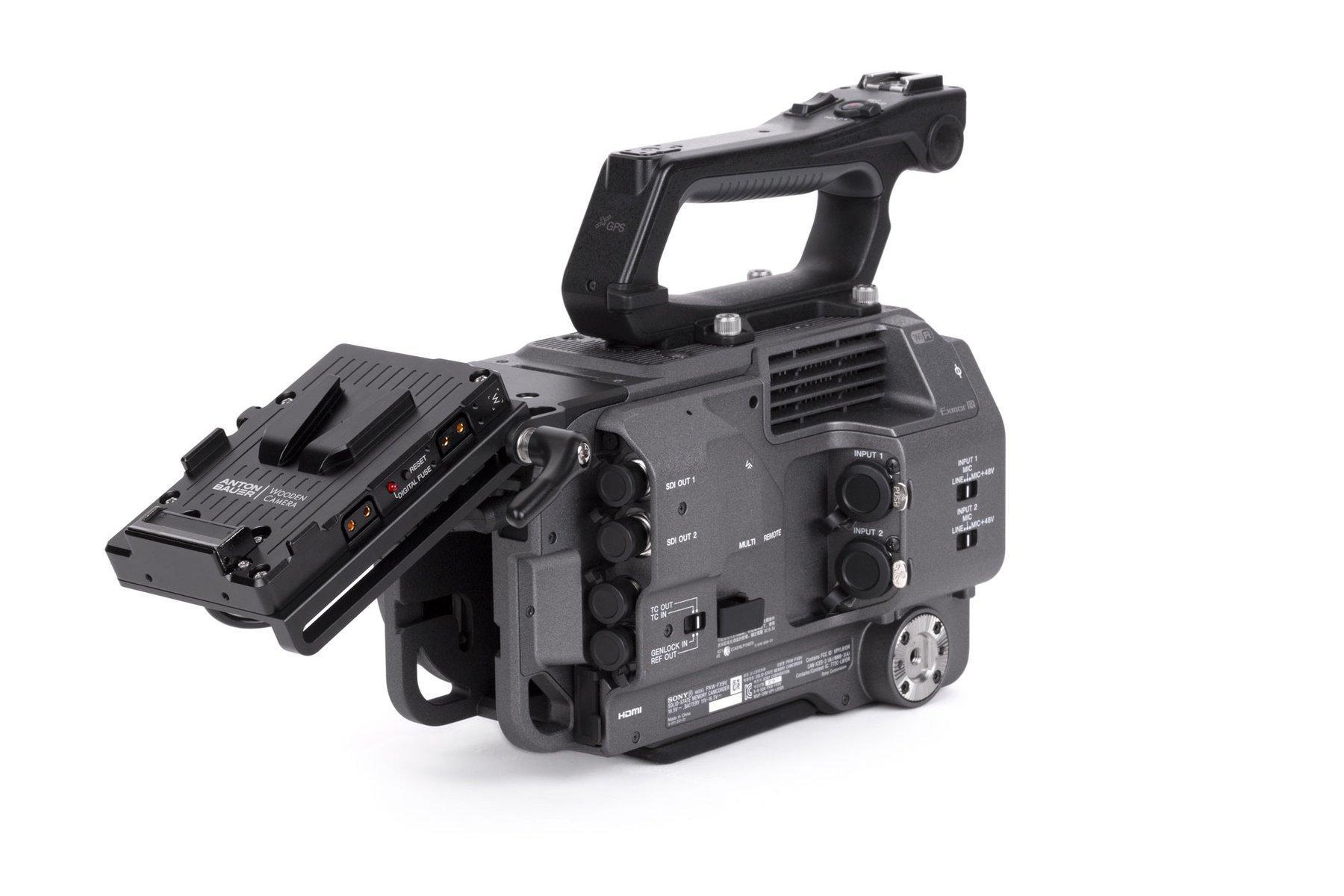 Adaptador V-Mount Sony FX9 – Montado en Camara vista hueco batería original